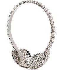 alessandra rich embellished ear-muff headband - silver