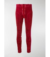 unravel project side stripe suede trousers