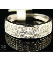 10k white gold 925 silver round cut sim diamond pave engagement men's band ring