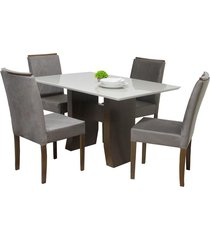 conjunto sala de jantar mesa + 4 cadeiras delazari canadá, imbuia - 191102