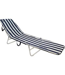 cadeira espreguiçadeira dobrável  mormaii - listra azul/branco - tricae