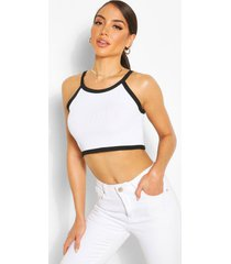 contrast racer style crop top, white
