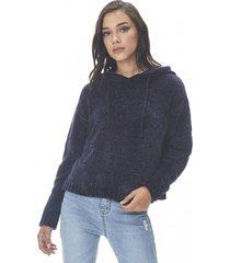 sweater hoodie chenille navy corona