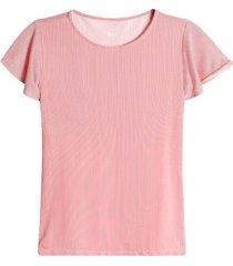 camiseta a rayas con arandelas color rojo, talla l