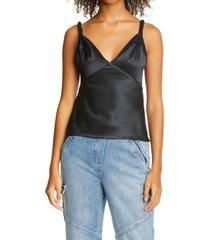 women's rta denim livia silk bodysuit, size 0 - black