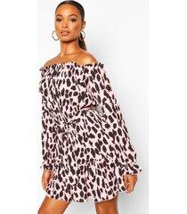 jurk met boothals en dalmatiërprint, roze