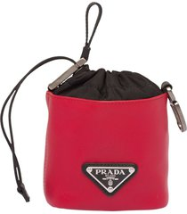 prada drawstring leather pouch - red
