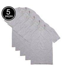 kit 5 camisetas básicas part.b t-shirt algodão cinza tee