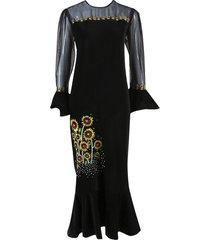 black multicolor velvet sunflower embroidered dress