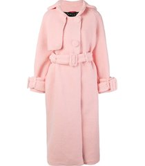 parlor belted single-breasted coat - pink