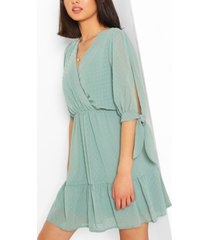 dobby tie sleeve skater dress, sage