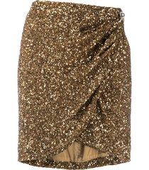 amen sequin wrap mini skirt - gold