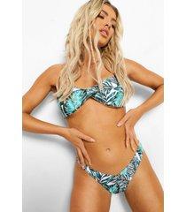 strapless palm print bikini top, ivory