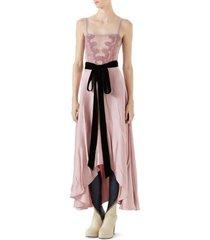 double satijnen jurk lace invoegen en taille