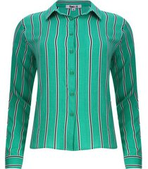 camisa mujer m/l a rayas verticales color verde, talla l