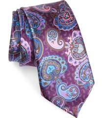 men's ermenegildo zegna paisley silk tie, size one size - purple
