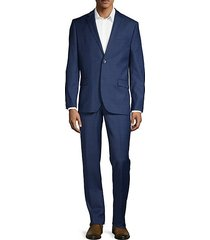 2-piece slim fit windowpane check stretch wool-blend suit