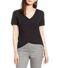 halogen(r) v-neck tunic t-shirt, size x-small in black at nordstrom
