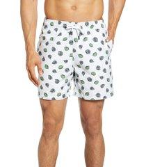 men's stone rose lime print swim trunks, size xx-large - green