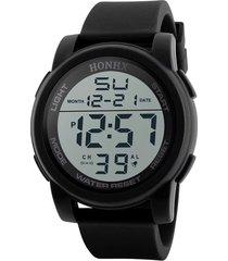 reloj hombres deportivo militar digital led hnx negro
