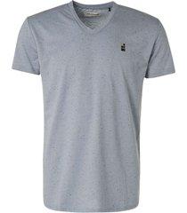 no excess t-shirt v-neck 3 coloured melange + indigo blue