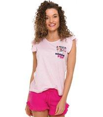 pijama adulto turma da mônica rosa 51040016 - evanilda