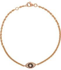 alinka alinka evil eye 18kt rose gold diamond bracelet - metallic