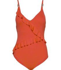 ruffle 1pcs baddräkt badkläder orange michael kors swimwear