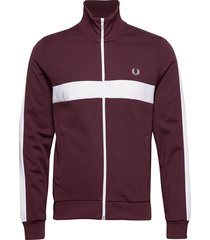 contrast panel track jkt sweat-shirt tröja brun fred perry