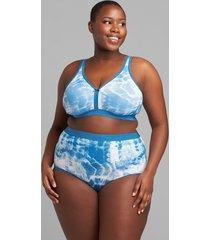 lane bryant women's cotton high-waist brief with wide waistband 34/36 blue tie dye