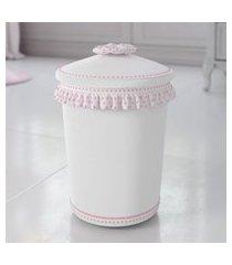 lixeira bebe menina branco/rosa nina luxuosa gráo de gente rosa