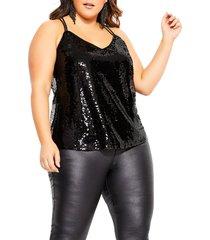 plus size women's city chic glimmer top sequin camisole, size x-small - black