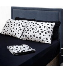 conjunto de lençol casal pertutty 100 porcento algodão fios nobres