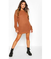 crew neck sweater dress, toffee