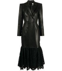 alexander mcqueen lace hem double-breasted coat - black