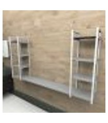 prateleira industrial banheiro aço cor branco 180x30x98cm (c)x(l)x(a) cor mdf cinza modelo ind53cb