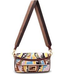 fendi cotton baguette ff multicolor shoulder bag