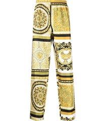 versace baroque print pajama trousers - yellow