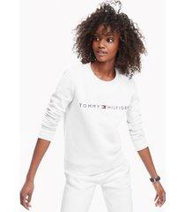 tommy hilfiger women's essential logo sweatshirt snow white - l