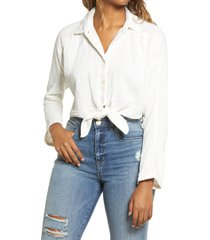 women's billabong sunset sessions women's waist tie blouse, size large - white