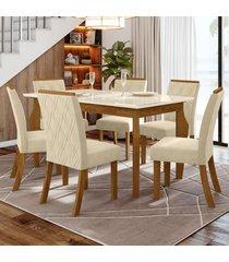 mesa de jantar 6 lugares maristela nature/off white/linho - bci móveis