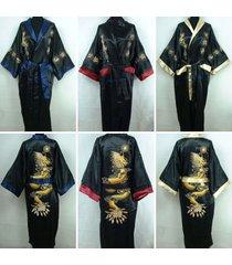 hot double-face chinese silk men's kimono robes gown bathrobe dress sleepwe