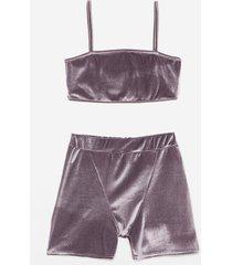 womens smooth mover velvet bralette and biker short set - grey