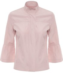 jaqueta feminina tactel recorte - rosa