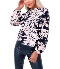 ax paris nude abstract print high neck blouse