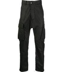 11 by boris bidjan saberi drop-crotch cargo trousers - blue