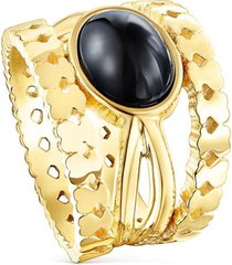 anillo straight de plata vermeil dorado y ónix tous