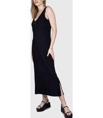 vestido ash largo rib negro - calce regular