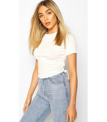 crew neck ruched side t-shirt, ivory