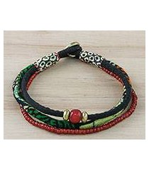 cotton and glass beaded fabric bracelet, 'color and charm' (thailand)